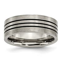 Titanium Enameled Flat 8mm Satin and Polished Band