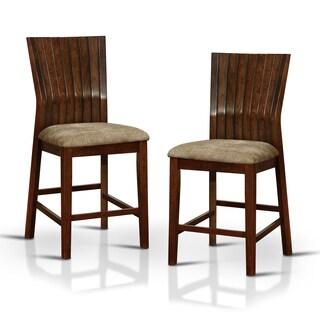 Furniture of America Crezena Plank Style Angled Dark Oak Counter Height Chair (Set of 2)