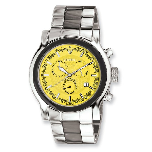 46a4e4f8eb27 Shop Men s Chisel Stainless Steel Swiss Quartz Yellow Dial Chronograph Watch  - On Sale - Free Shipping Today - Overstock - 12914971