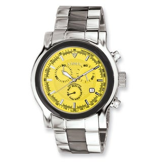 Men's Chisel Stainless Steel Swiss Quartz Yellow Dial Chronograph Watch