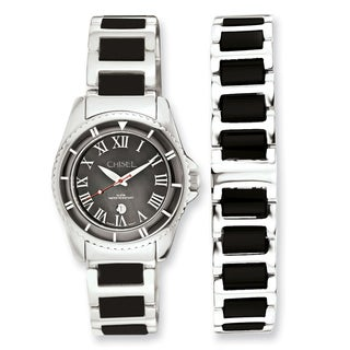 Women's Chisel Ceramic and Stainless Steel Black Dial Bracelet Watch