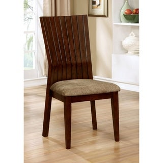 Furniture of America Crezena Plank Style Angled Dark Oak Side Chair (Set of 2)