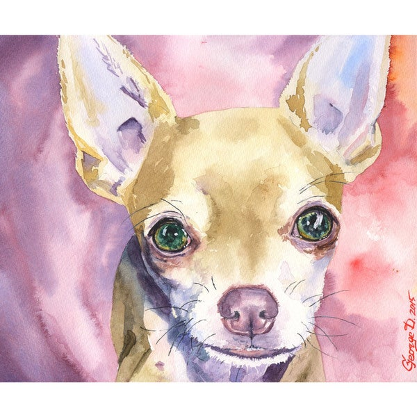 Marmont Hill - 'Chihuahua' by George Dyachenko Painting Print on Wrapped Canvas - Multi-color