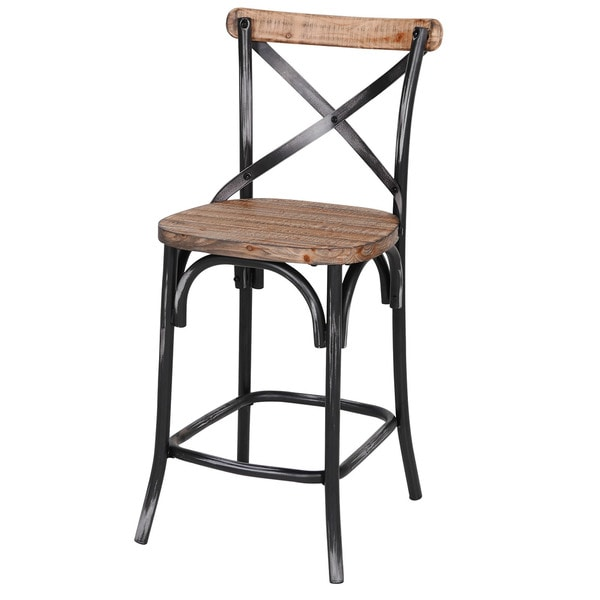 Counter Stool Rustic Iron Amp Reclaimed Pine Wood Free
