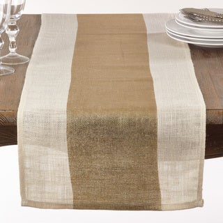 Burlap Table Runner With Thick Gold Band