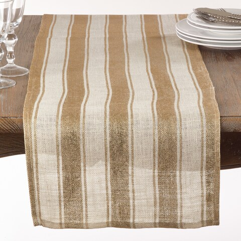 Striped Foil Burlap Table Runner