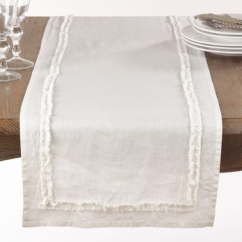 Ruffled Linen Table Runner