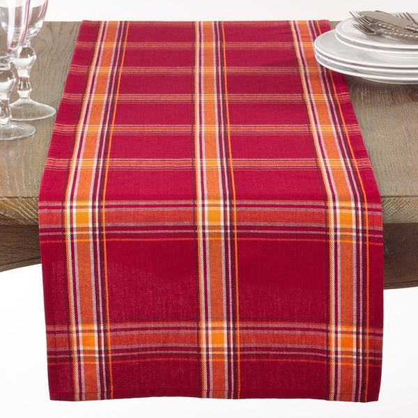 Red and Orange Plaid Table Runner. Opens flyout.