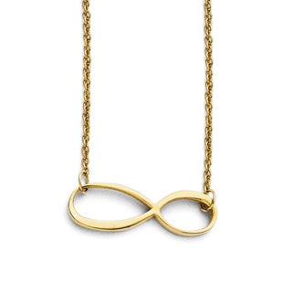 Stainless Steel Infinity Yellow IP-plated Polished Necklace