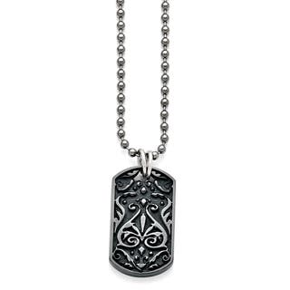 Titanium and Sterling Silver Black Polished Etched Dog Tag Necklace|https://ak1.ostkcdn.com/images/products/12915001/P19670039.jpg?impolicy=medium