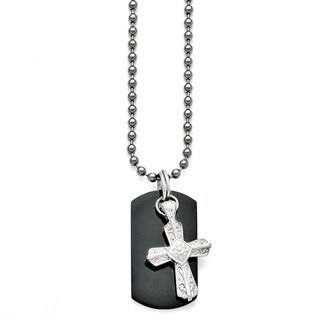 Titanium and Sterling Silver Black Polished Etched Cross Dog Tag Necklace