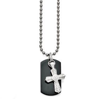 Titanium and Sterling Silver Black Polished Etched Cross Dog Tag Necklace|https://ak1.ostkcdn.com/images/products/12915002/P19670041.jpg?impolicy=medium