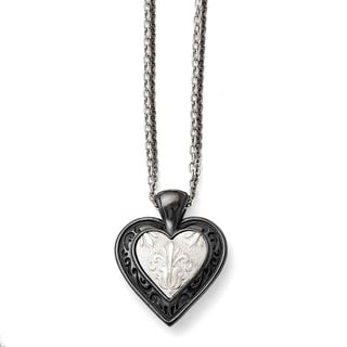Titanium and Sterling Silver Black Polished Etched Heart Chain Necklace