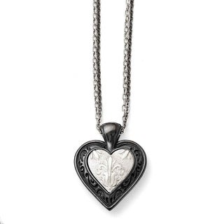 Chisel Titanium and Sterling Silver Black Polished Etched Heart Chain Necklace