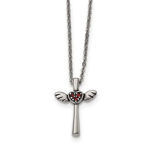 Stainless Steel Polished With Red Crystal Cross Necklace
