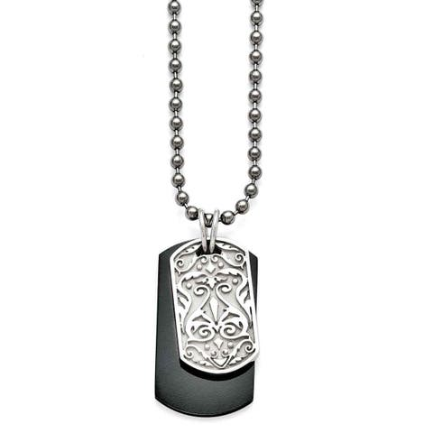 Chisel Titanium and Sterling Silver Black Polished Etched Dog Tag Necklace