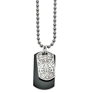 Titanium and Sterling Silver Black Polished Etched Dog Tag Necklace