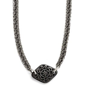 Titanium and Sterling Silver Black Polished Etched Charms Necklace