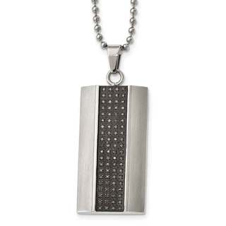 Stainless Steel Brushed Black Diamond Rectangle Necklace