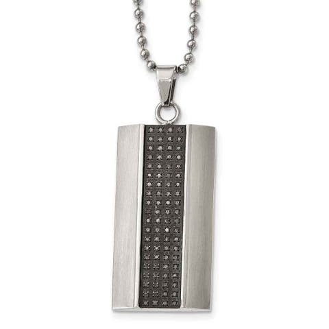 Chisel Stainless Steel Brushed Black Diamond Rectangle Necklace