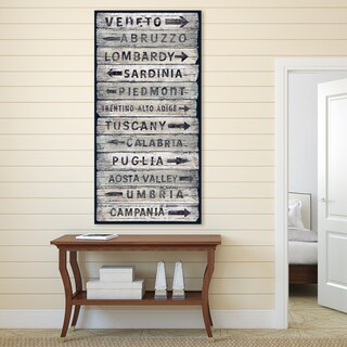 Portfolio Canvas Decor 'Italian Wine Regions II' Vintage Sign Canvas Wall Art - Black/White