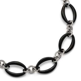 Titanium Polished Black Oval Cubic Zirconia Necklace
