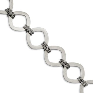 Stainless Steel Brushed 7.5-inch Bracelet with Extension