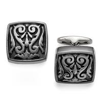 Titanium Black Polished Etched Square Cuff Links