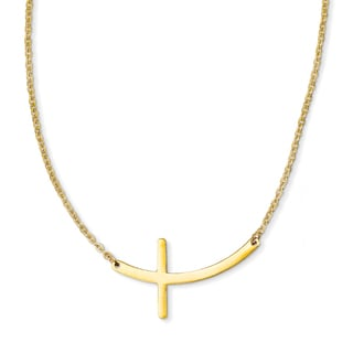 Stainless Steel Yellow Sideways Cross 18in Necklace