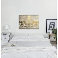 """Gala Night Luxe"" Gold Foil Fashion and Glam Chandeliers Framed Art on Canvas - 36 x 24"