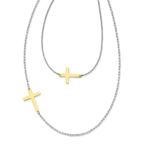 Chisel Stainless Steel Polished Double Sideways Cross Layered Necklace