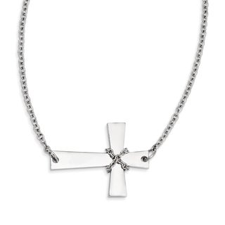 Stainless Steel Sideways Cross with Chain Necklace