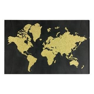 """World in Glitter"" Gold Glitter Art on Canvas"