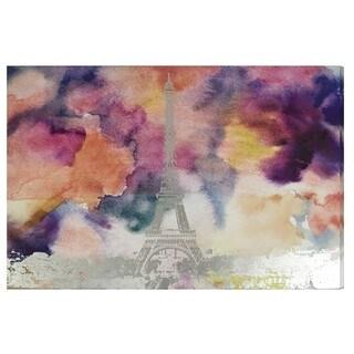 """""""Paris Eiffel Watercolor"""" Silver Foil Graphic Art on Canvas"""