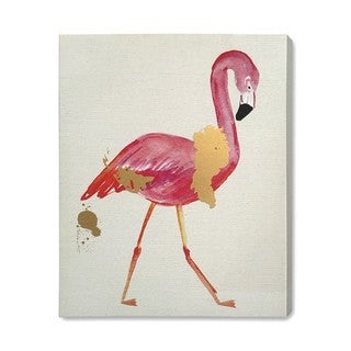 """Glam Flamingo"" Gold Foil Painting on Canvas"