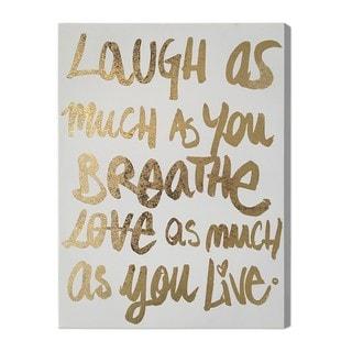 """""""Laugh/Love"""" Gold Foil Art on Canvas"""