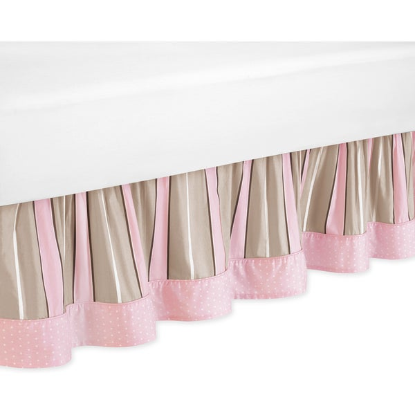 Sweet Jojo Designs Pink and Chocolate Mod Dots Queen-size Bedskirt