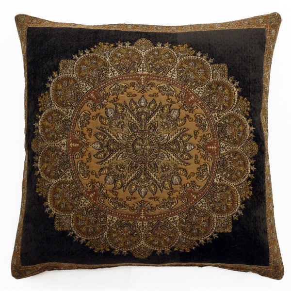 Brown Chenille Throw Pillows : Brown Chenille/Wool/Viscose Medallion Throw Pillow - Free Shipping On Orders Over USD45 ...