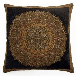 Brown Chenille/Wool/Viscose Medallion Throw Pillow