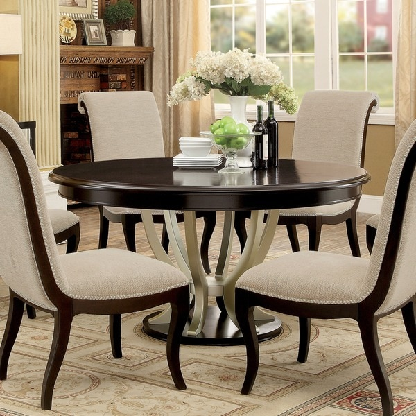 Furniture Of America Daphne Round Pedestal Espresso/Champagne Dining Table