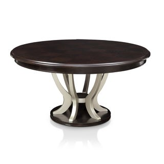 furniture of america daphne round pedestal espressochampagne dining table free shipping today overstockcom 19670141 - Round Table Dining