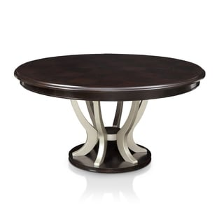 Furniture of America Daphne Contemporary Round Pedestal Espresso/Silver Dining Table