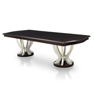 Furniture of America Daphne Contemporary Double Pedestal Espresso/Silver 106-inch Dining Table