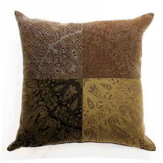 Paisley Block Brown Wool 16-inch Square Throw Pillow
