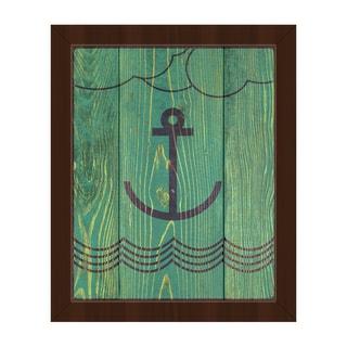 'Anchored Green' Framed Canvas Wall Art