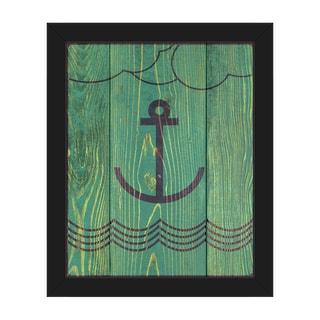 'Anchored Green' Black Plastic Framed Canvas Wall Art