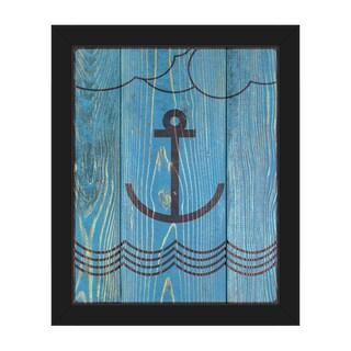 'Anchored Main' Framed Canvas Wall Art