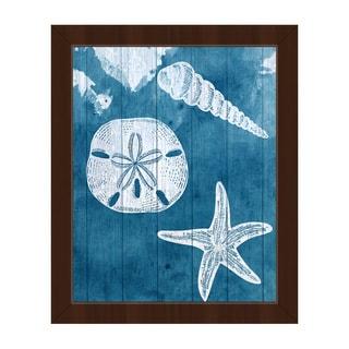 'Sea Treasures' Blue Framed Canvas Wall Art