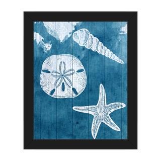 Sea Treasures' Blue' Framed Canvas Wall Art