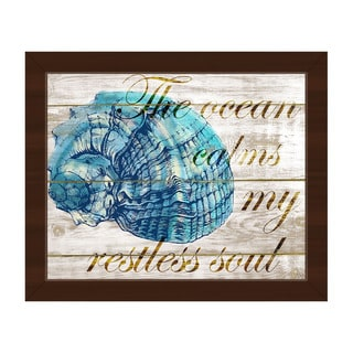 Ocean Calms My Restless Soul' Framed Ready-to-hang Canvas Wall Art